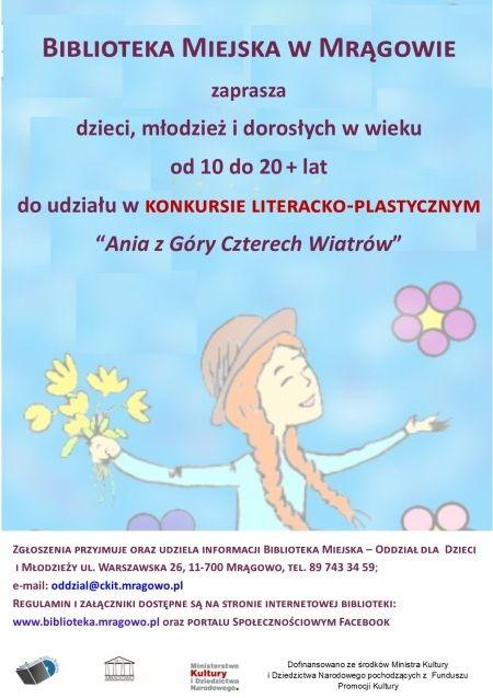 """Konkurs literacko-plastyczny pt. """"Ania z Góry Czterech Wiatrów"""""""